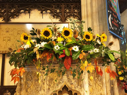 Flowers on pulpit